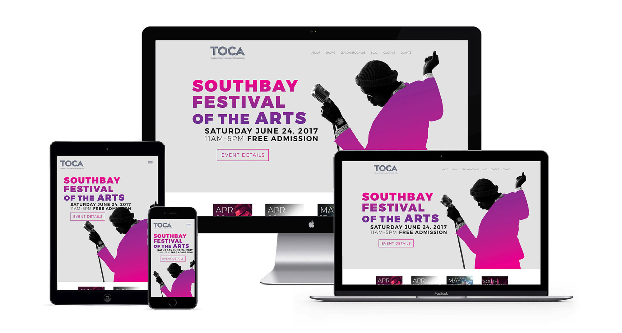 TOCA Southbay Festival of the Arts Web Design